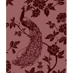 Peacock Silhouette Flocked Wallpaper